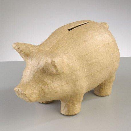 Spardose aus Pappmaché Form Schwein, 16,5x 8x 10cm, zum Dekorieren (Pappmaché-formen)