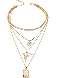 b62a50d9320b ZQword Collar de Hip Hop Pistola Colgante Largo para Las Mujeres Oro Plata  Multicapas Enlace Cadena Gargantilla…