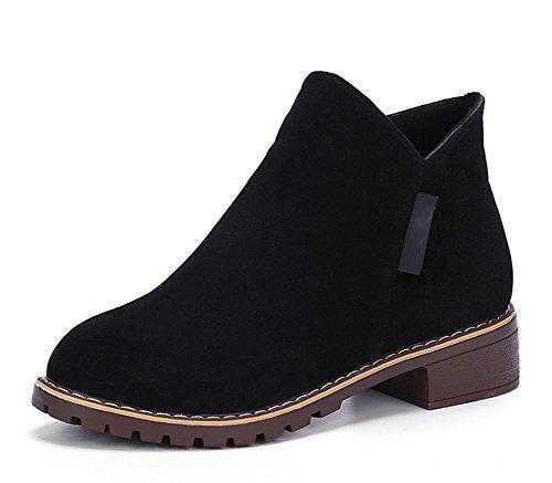 Frau Stiefel flach mit niedrigen Absätzen Schuhe Freizeit kurze Stiefel Frau Aufzug Schuhe Herbst Black