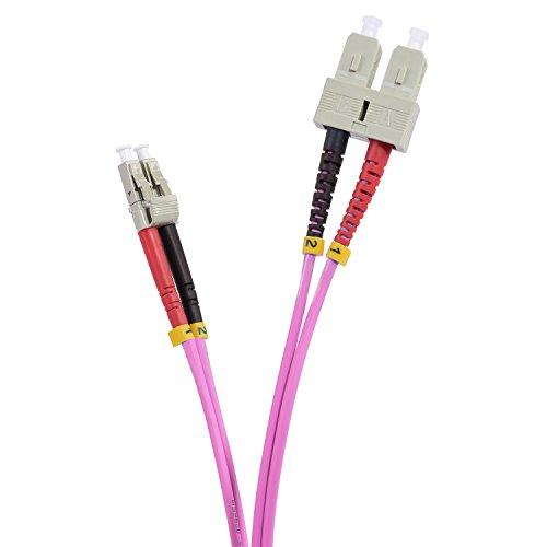 TPFNet Premium 30,00m LWL Kabel - LWL Patchkabel OM4 SC/LC - LWL Multimode Patchkabel OM4 SC/LC - LWL Netzwerkkabel OM4 SC/LC - LWL Duplex Patchkabel OM4 SC/LC - Lichtwellenleiterkabel OM4 SC/LC - Glasfaser-Netzwerkkabel - LWL Fiber Channel (SC Duplex Stecker an LC Duplex Stecker- 50/125µm - für 10 Gigabit/s) - Violett