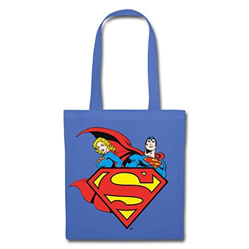 Spreadshirt DC Comics Originals Supergirl Und Superman Stoffbeutel, Hellblau