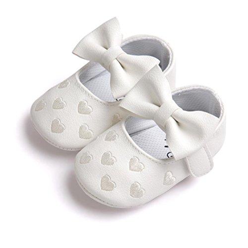 Baby Mädchen Krabbelschuhe mit Klettverschluss PU-Leder Schuhe Anti-Rutsch Weiche Sohle Kleinkind Schuhe Lauflernschuhe Bowknot Sneaker babyschühchen URSING 0 ~ 18 Monate (0~6M, Weiß)