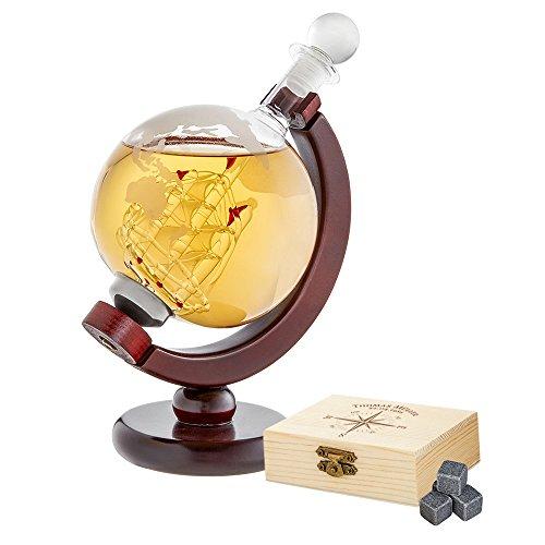 AMAVEL Whiskyset – Karaffe Globus – Whiskysteine in Edler Holzbox mit Gravur – Kompass – Personalisiert mit [Namen] und [Datum] – Dekanter mit luftdichtem Verschluss – Männergeschenke zum Vatertag