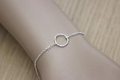 Bracelet argent massif 1 anneau de style minimaliste