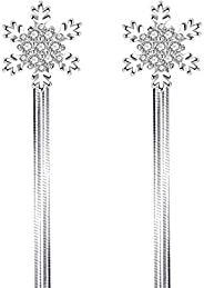 J&J Fashionable snowflake earrings, women's back hanging wild temperament, exaggerated mid-long silver