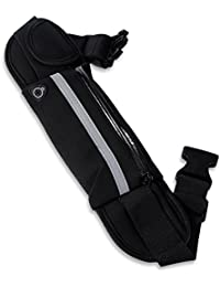 Zhuhaimei,Paquete de cinturón de maratón antirrobo Resistente al Agua para Deportes al Aire Libre(Color:Negro)