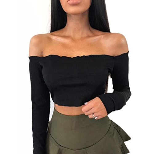 Kolylong® Tank Tops Damen Frauen reizvoller von der Schulter Kurze Ärmel Bluse elegant T-Shirt Hemd Oberteile Crop Tops Partykleidung (Schwarz-B, S)