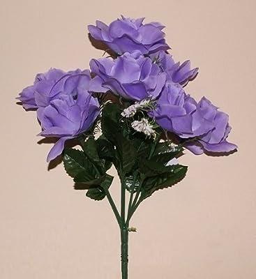 artificial flower open rose bush & gyp LILAC grave & home