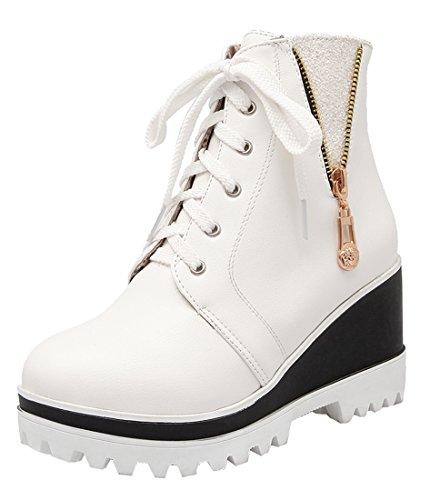 YE Damen Bequeme High Heels Plateau Stiefeletten mit Keilabsatz und Schnürung Reißverschluss 7cm Absatz Herbst Winter Ankle Boots Schuhe Weiß