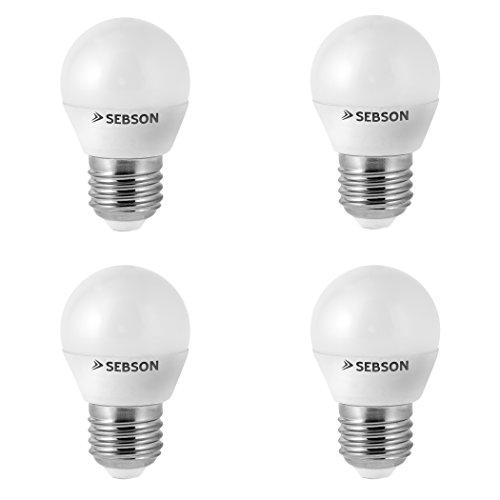 Ra-serie (SEBSON® Ra 95 Serie + flimmerfrei, E27 LED Lampe 6W warmweiß, ersetzt 35W, 430lm, 2700K, 230V LED Leuchtmittel Birne, 4er Pack)