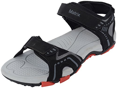 Matrix Men's Grey Synthetic Sandals & Floaters (MSP 1464 bk/gry, Size: 9 UK)