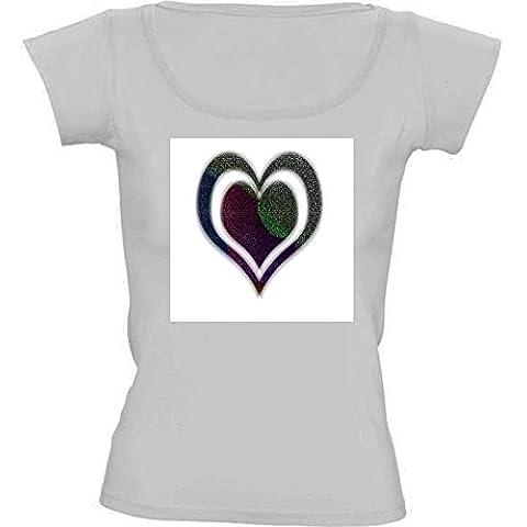 Camiseta Cuello Redondo para Mujer - Corazón De La Arena Coloreada by Helsch1957