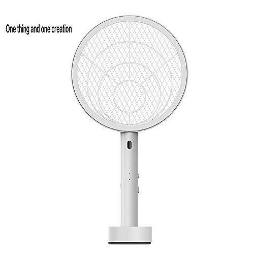 ZXYMWD UV Insektenvernichter Elektrische Moskito-Klatsche, Flycatcher-Moskito-elektrischer Tennisschläger Handfliegen-Insekten-Fliege Wasp Klatsche für Schlafzimmer Küche und Büro (Color : White)