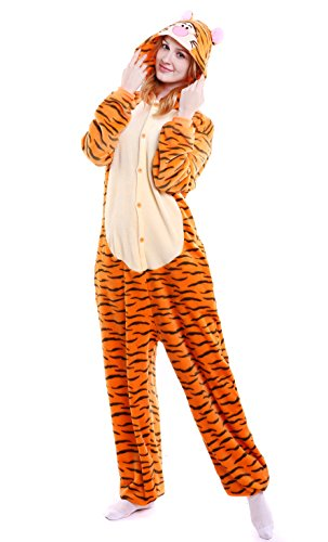 Tier Onesie Pyjama Kostüme Kigurumi Schlafanzug Erwachsene Unisex Fasching Cosplay Karneval Tieroutfit Tierkostüme Jumpsuit (Tiger,S) (Tiger Unisex-erwachsene)