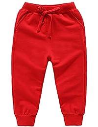 DQCUTE Pantalones Deportivos para Niños Niñas Pantalón Largos Elástico Cintura Pantalones de Chándal Joggers Algodón para Bebé 1-8 Años