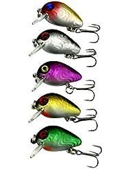 Forfar Leurre de pêche topwater Wobbler Leurre Petit Fat Mini artificielle poisson Crank Crochet appât Crankbait Treble 3cm / 1,5g Tackle