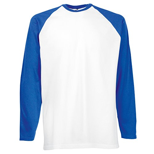 Fruit of the Loom Langarm Baseball T-Shirt SS028 - White / Royal Blue
