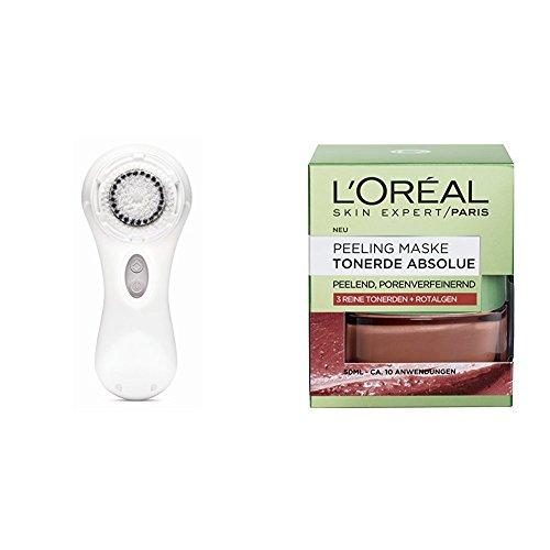 Clarisonic Elektrische Gesichtsreinigungsbürste Mia 2 White, 1 Stück + L'Oréal Paris Tonerde Absolue Peeling Maske, 1er Pack (1 x 50 ml)