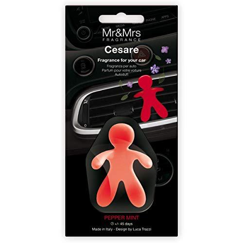 Mr & Mrs MRMR7 Fragrance Cesare, Ambientador Coche Nueva Edición, Aroma Peppermint, Rojo