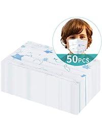 Niños Desechables de Filtro de Tres Capas con Pendientes Elásticos, 50pcs, Azul