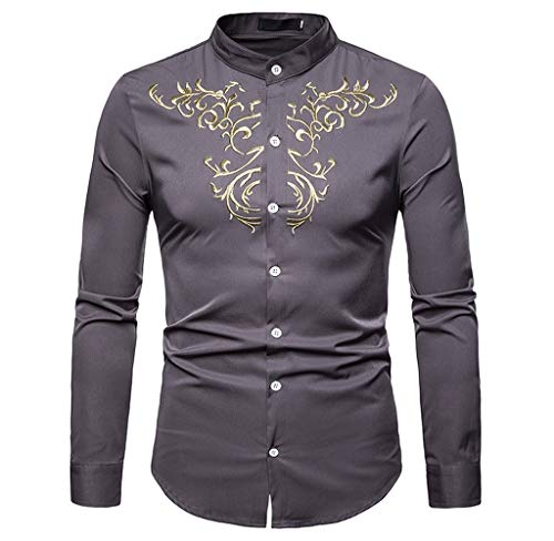 Luckycat Herren Herbst Winter Luxus Casual Gold Stickerei Langarm Shirt Top Bluse Mode 2018