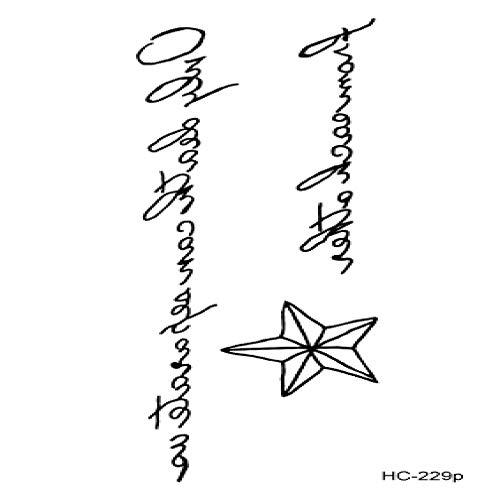adgkitb 5 stücke Buchstaben Zitate Temporäre Tätowierung Aufkleber Teufel Doesn Englisch Buchstaben Gefälschte Tatto Minimal Design Tattoos Für HC-229p 10,5x15 cm