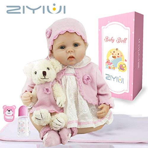 ZIYIUI Real Look Realista Muñeca Reborn bebé 55 cm Recién Nacido Silicona Suave de Vinilo Realista niña Hecha a Mano Regalo de cumpleaños para niños