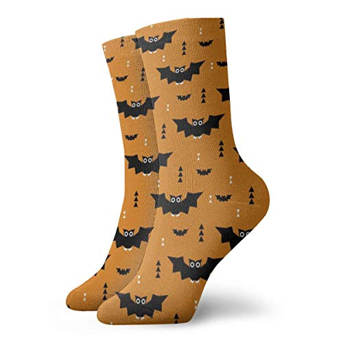 (Cute Little Bats Geometric Halloween Horror Print With Triangles Orange Night Men's Classics Cotton Dress Socks Flat Knit Fashion Crew Socks for Men 30 cm/11.8 inch)