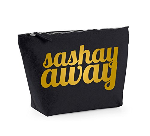 Sashay Away - Fun Slogan, Make Up and Cosmetics Bag, Accessory Organiser Black/Gold