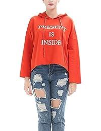 Dehutin Women' Long Sleeve Hooded Sweatshirt Short Pullover Fashion Letter Printing Sweatshirt