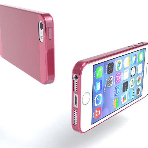 """EAZY CASE Handyhülle für Apple iPhone SE, iPhone 5S/5 Hülle - Premium Handy Schutzhülle Slimcover """"Clear"""" hochwertig und kratzfest - Transparentes Silikon Backcover in Klar / Durchsichtig Pink"""