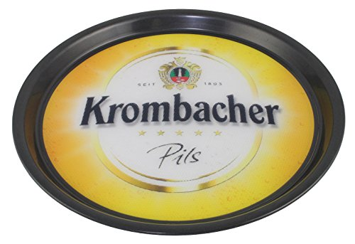 Runde Theke Höhe Tisch (Krombacher Pils Servier-Tablett Bier Glas Rundes Tablett 37 cm rutschfest Theke Tresen Bar Gläser Party Keller Deko Set Accessoire)