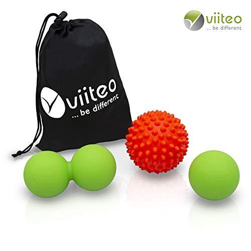 Set mit Igelball Faszienball und Duoball zur Massage der Triggerpunkte im Nacken, Rücken & Schulterbereich, sowie dem Bindegewebes, 3 Bälle incl. praktischer Tasche ()