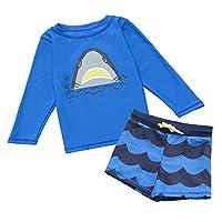 7-Mi Boys Swimsuit,UV Rash Guard Long Sleeve Full body Swimwear - Sunsafe Protection - 3D Shark Design Toddler Kids Baby Girl Swimsuits, 3-4 years(37-41in), Blue