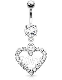 Bauchnabel Piercing Stahl mit Herz Anhänger großer Kristall Glitzer Belly heart