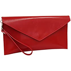 AMBRA Moda Damen Wildleder Envelope Clutch Handschlaufe Handtasche Schultertasche Unterarmtasche Damentasche Veloursleder WL801 (Rot Rindsleder)