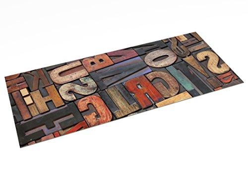 Printodecor - Alfombra Vinílica Impresa, Multicolor (Vintage Letras), 150 x 65 cm