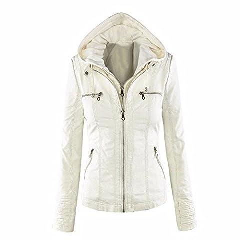 Minetom Femme Fille Mode Bomber Blousons En Simili Cuir Fermeture Éclair Motard Hooded Tops Manteau à Capuche Court Moto Veste Jacket Blanc FR 40