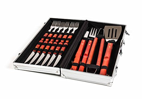 Grillbesteck im Alu-Koffer inklusive Steak-Besteck, Holzgriffe, rustikal Lederschlaufe, 48 x 22 cm (Rustikale Koffer)