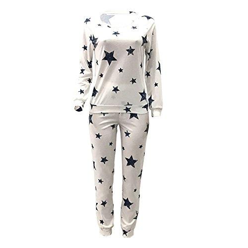 Oeak Damen Schlafanzug Stern Druck Hausanzug Nachtwäsche Langarmshirt und Hose Set