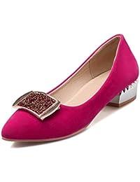 Damen Mattglasbirne Ziehen auf Rund Zehe Niedriger Absatz Rein Pumps Schuhe, Weinrot, 35 AllhqFashion