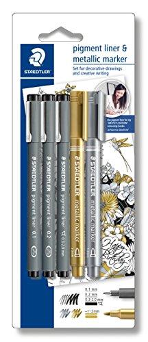 Staedtler creative set (3 Fineliner pigment liner schwarz, 2 metallic marker, Johanna Basford) 308 SBK3P3