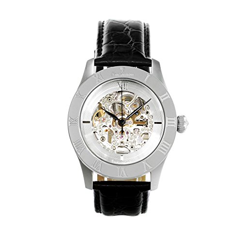 Continuum Herren-Armbanduhr Automatik Analog Skelettuhr Leder Schwarz - CO15005