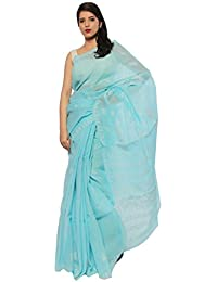 BDS Chikan Women's Lucknow Chikan Sky Blue Cotton Saree With White Color Thread Work
