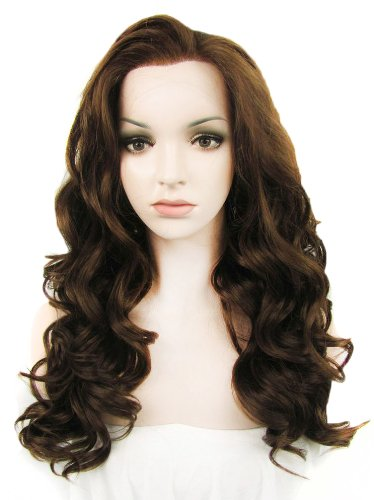 Preisvergleich Produktbild Imstyle Long Natural Wavy Heat Resistant Synthetic Lace Front Wig 6/8# 24 inch Long Cosplay Party Wigs Natural Brown Color Wig by IMSTYLE