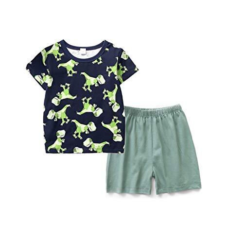 JUTOO 2 Stücke Set Kleinkind Baby Boy Cartoon Dinosaurier Tops T-Shirt + Einfarbig Shorts Outfits Nachtwäsche ()