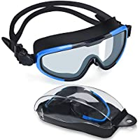 Letsfit Swimming Goggles, No Leaking Anti-Fog Indoor Outdoor Swim Goggles with UV Protection Mirrored Clear Lenses for Women Men Youth