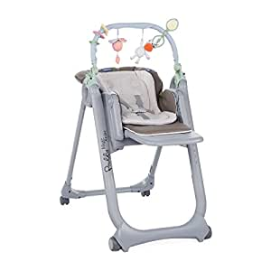 Chicco Polly Magic Relax Chaise Haute avec 4 Roues, Gris (Dove grey-Marron)