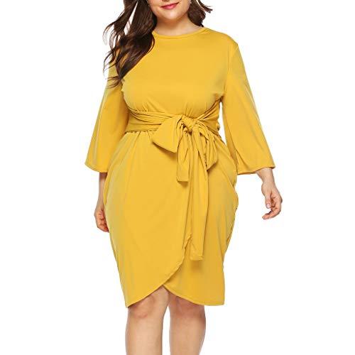 Cebbay Womens Plus Size Casual O-Hals 3/4 Ärmel Knielanges Kleid Partykleid Beach-Party-Urlaub A-line Minikleid(Gelb,EU-46/CN-4XL)