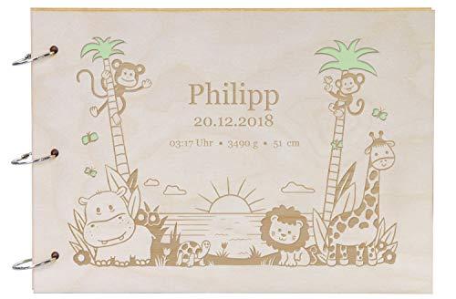 LAUBLUST Foto-Album aus Holz mit Gravur - Dschungel Motiv - ca. 31 x 22 cm, Natur | Babyalbum als Geschenk zur Geburt - 30 DIN A4-Seiten, Karton, Schwarz